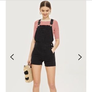 NWT! Topshop Cycle Dungaree Overalls Black